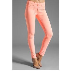 [J Brand] Maria Neon Coral Skinny Jeans